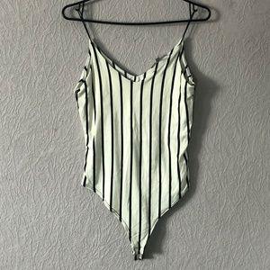 Thin Strap Stripped Bodysuit